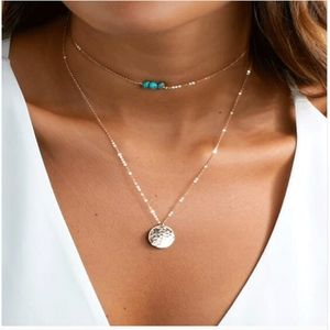 Jewelry - PREVIEW Stone & Coin Disc Pendant Layered Choker